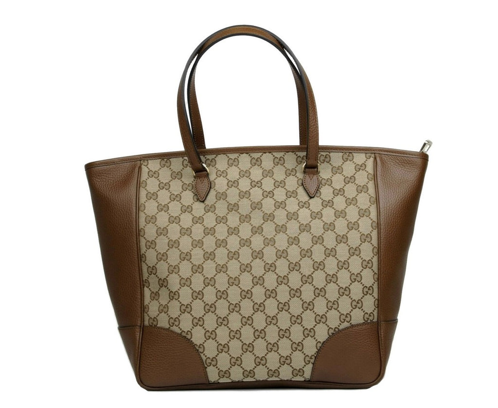 Gucci Women's Bree Beige / Ebony GG Canvas Leather Tote Large Bag With Charm 449242 8610 - LUX LAIR