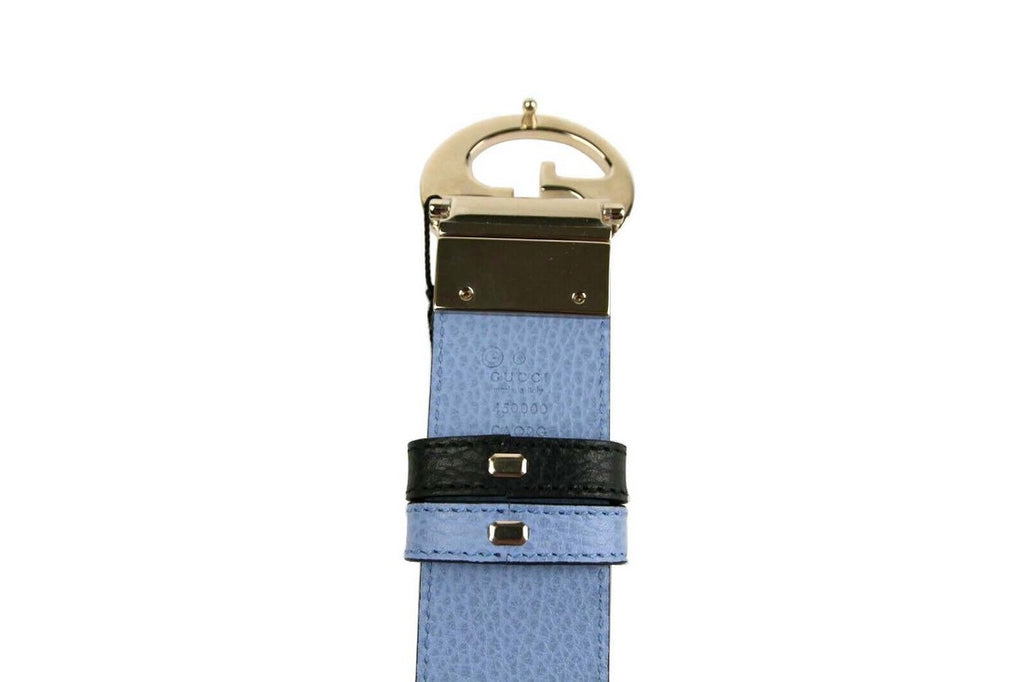 Gucci Women's Black / Blue Leather Reversible Interlocking G Belt 450000 8660