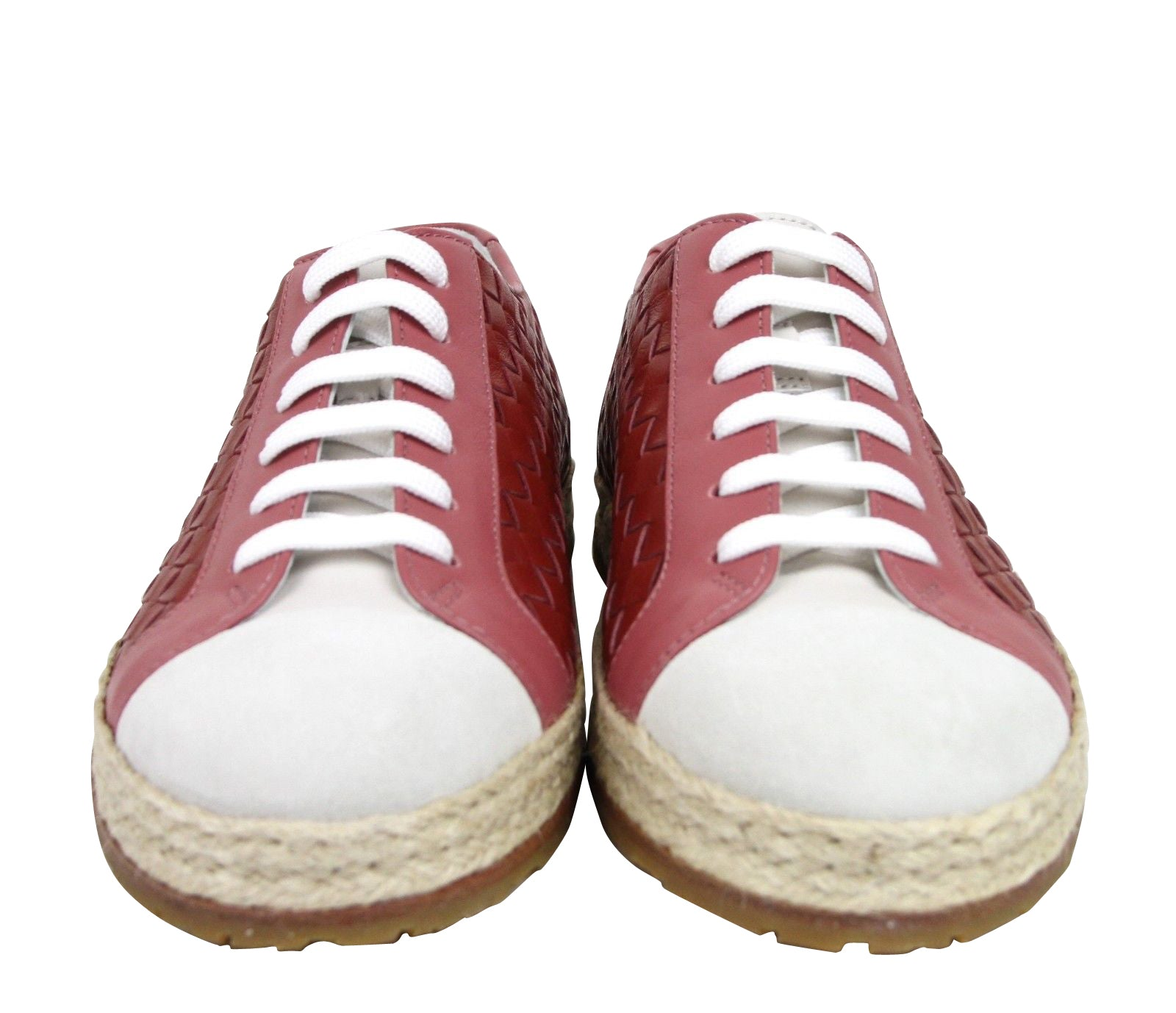 Red Leather Woven Lace Ups Sneakers 4516