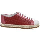Bottega Veneta Women's Pink / Red Leather Woven Lace Ups Sneakers 451689 5768 - LUX LAIR