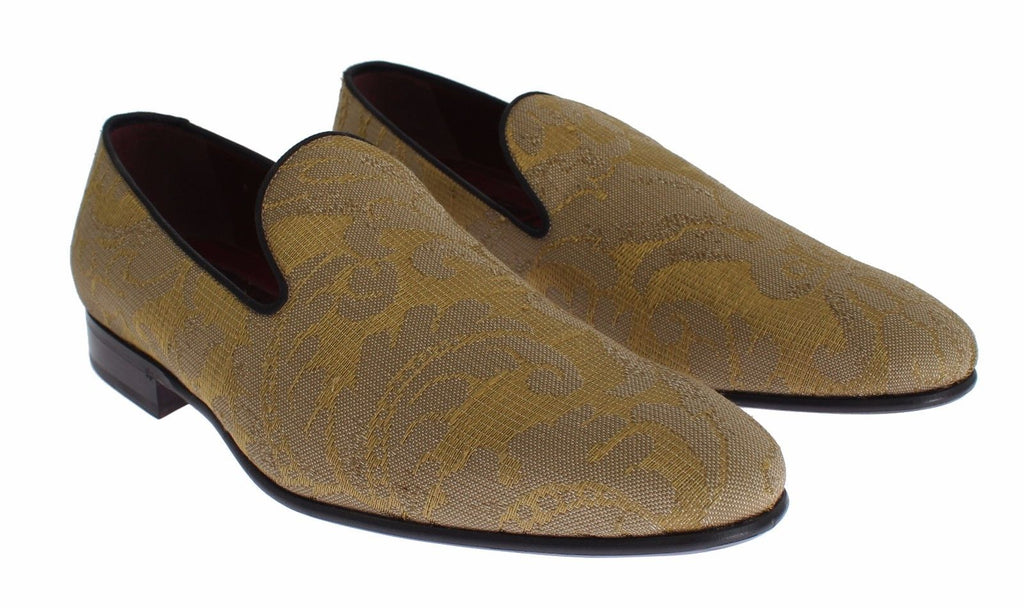 Dolce & Gabbana Yellow Gold Silk Baroque Loafers Men's Shoes