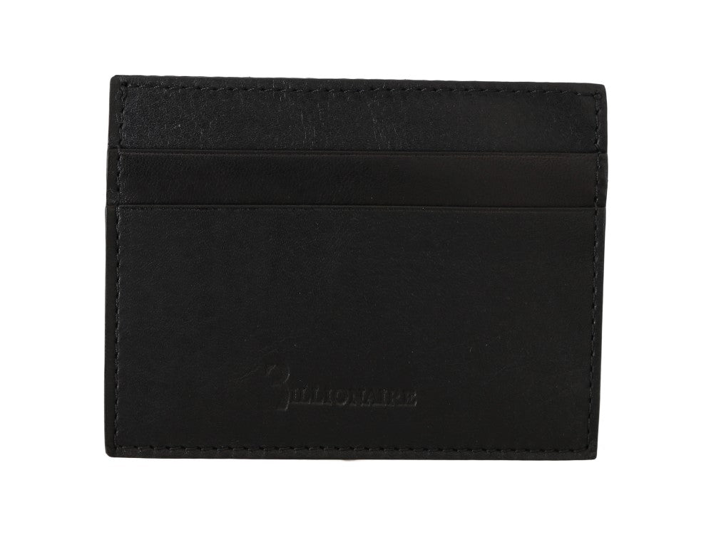 Billionaire Italian Couture Black Leather Cardholder Men's Wallet