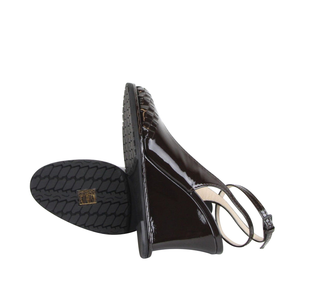 Bottega Veneta Women's Brown Coffee Leather Woven Wedge Patent 465176 2006