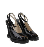 Bottega Veneta Black Patent Leather Straw Wedge Slingbacks 465179 VADW1 1000 - LUX LAIR