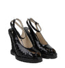 Bottega Veneta Black Patent Leather Straw Wedge Slingbacks 465179 VADW1 1000
