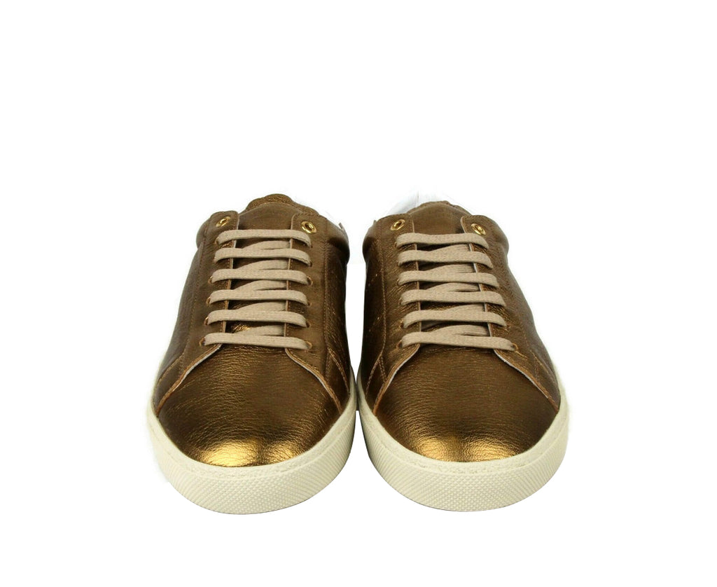 Saint Laurent Men's Bronze Metallic Leather SL06 Sneakers 472370 7771