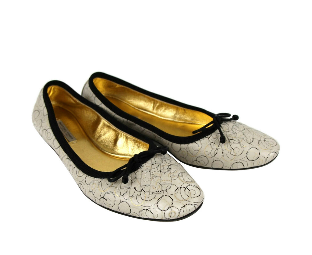 Bottega Veneta Ballet Flats Ivory Leather - Simple Style