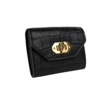 Alexander McQueen Card Holder Black Embossed Leather