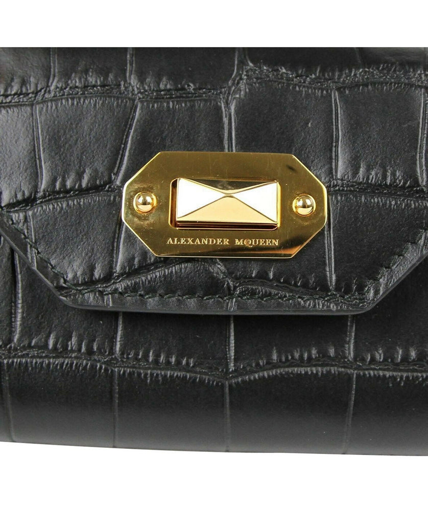 "Alexander McQueen Card Holder Black Leather - 4"" Length"