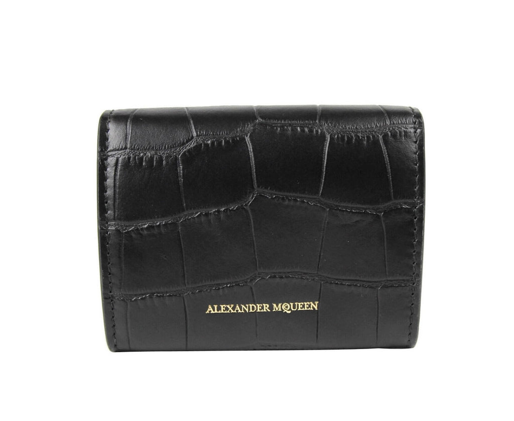 "Alexander McQueen Card Holder Black Leather - 3"" Height"