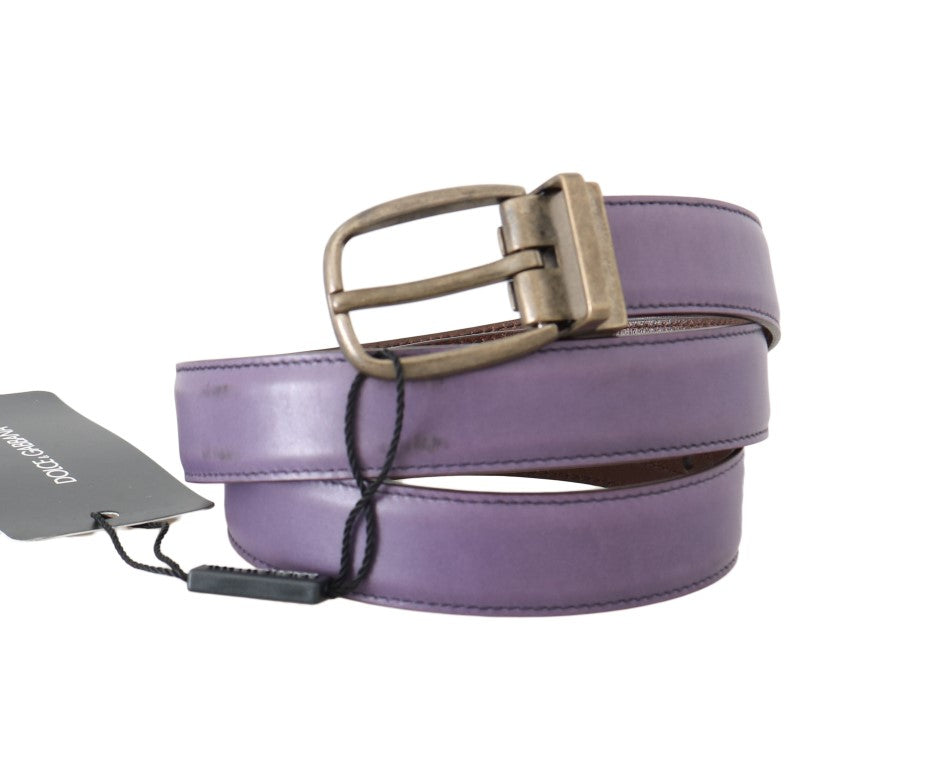 Dolce & Gabbana Purple Shiny Leather Gold Buckle Men's Belt