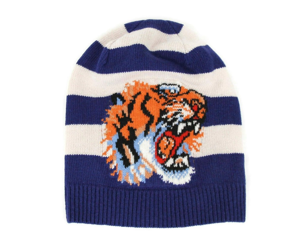 Gucci Beanie Blue Wool Knit With Tiger Head Hat for Men