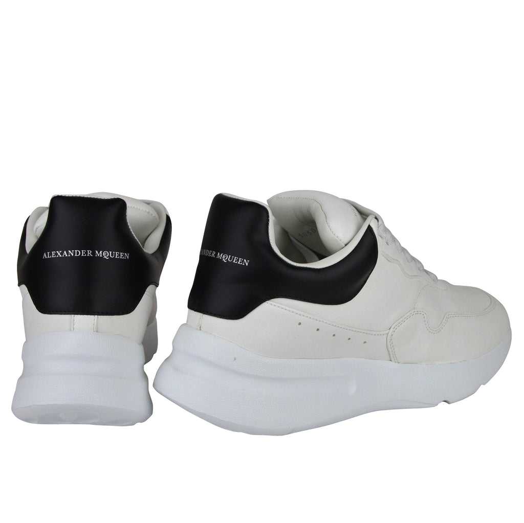 Alexander McQueen Men's Ivory / White / Black Leather Platform Sneakers 505033