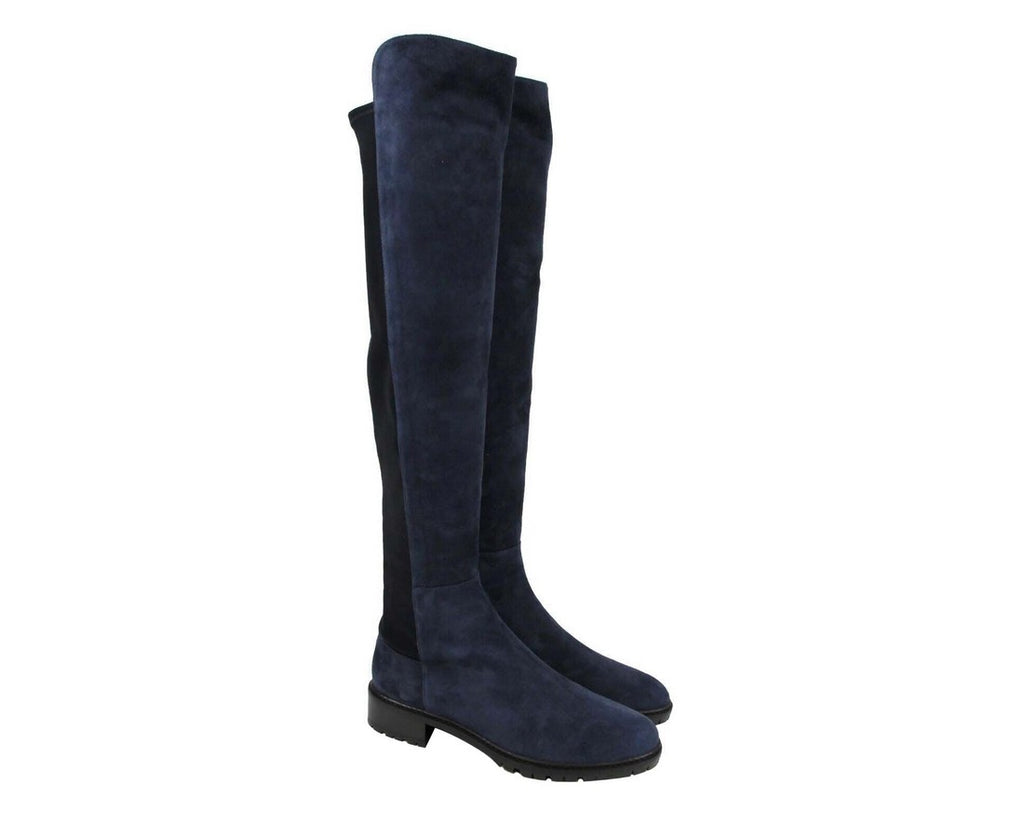 Stuart Weitzman Women's Nice Blue Suede Knee High Boot (8 M)