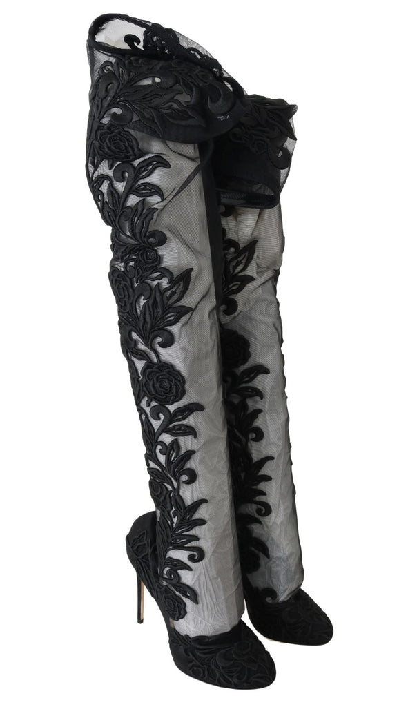 Dolce & Gabbana Black Floral Embroidered Socks Women's Boots