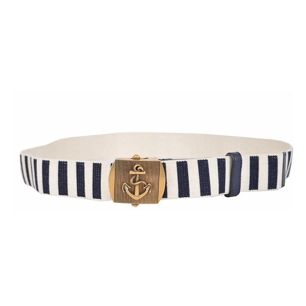 Gucci Men's Navy / White Fabric Brass Anchor Buckle Striped Belt 375191