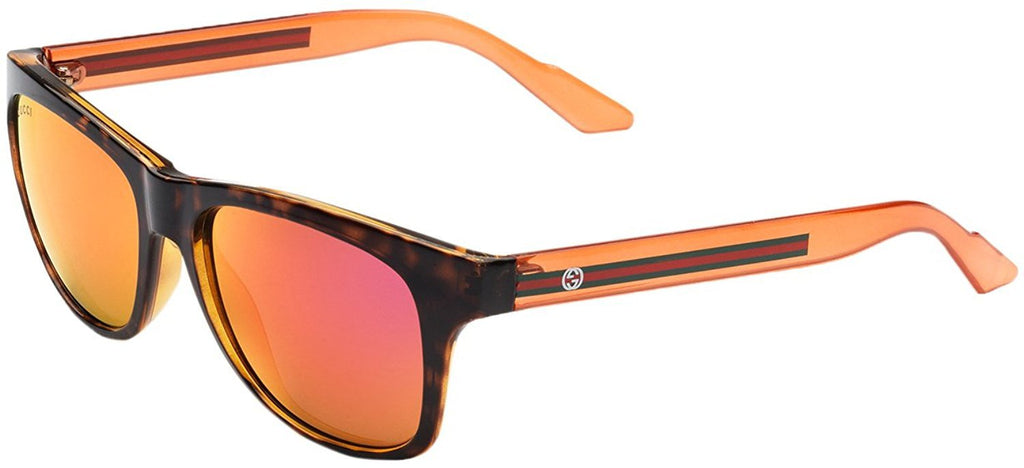 Gucci Unisex Orange / Havana Plastic Square Bio-Based Sunglasses GG 3709/S 363721