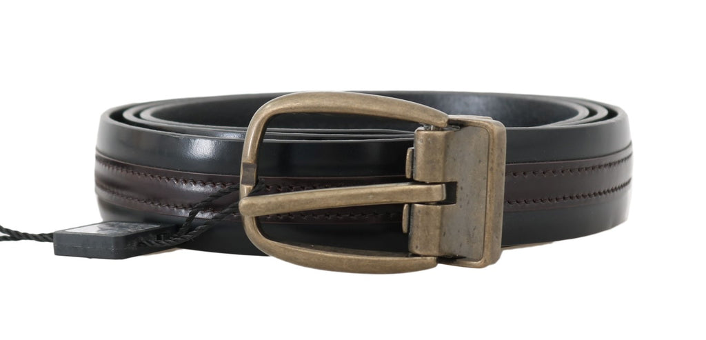 Dolce & Gabbana Black Bordeaux Leather Men's Belt