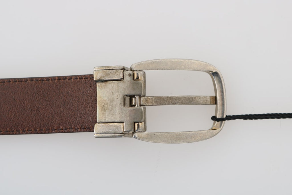 Dolce & Gabbana Brown Leather Gray Oval Buckle Men's Belt