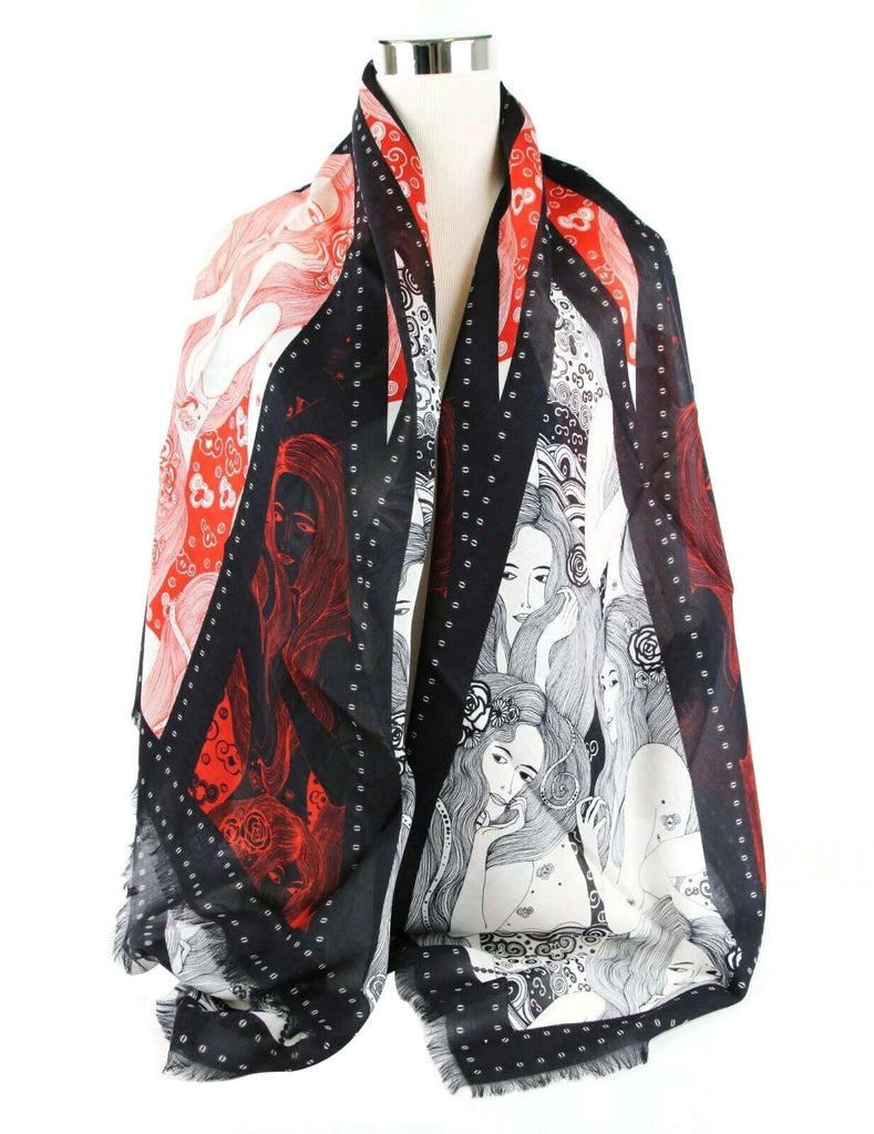 Alexander McQueen Shawl Black Eve Of Harness Print