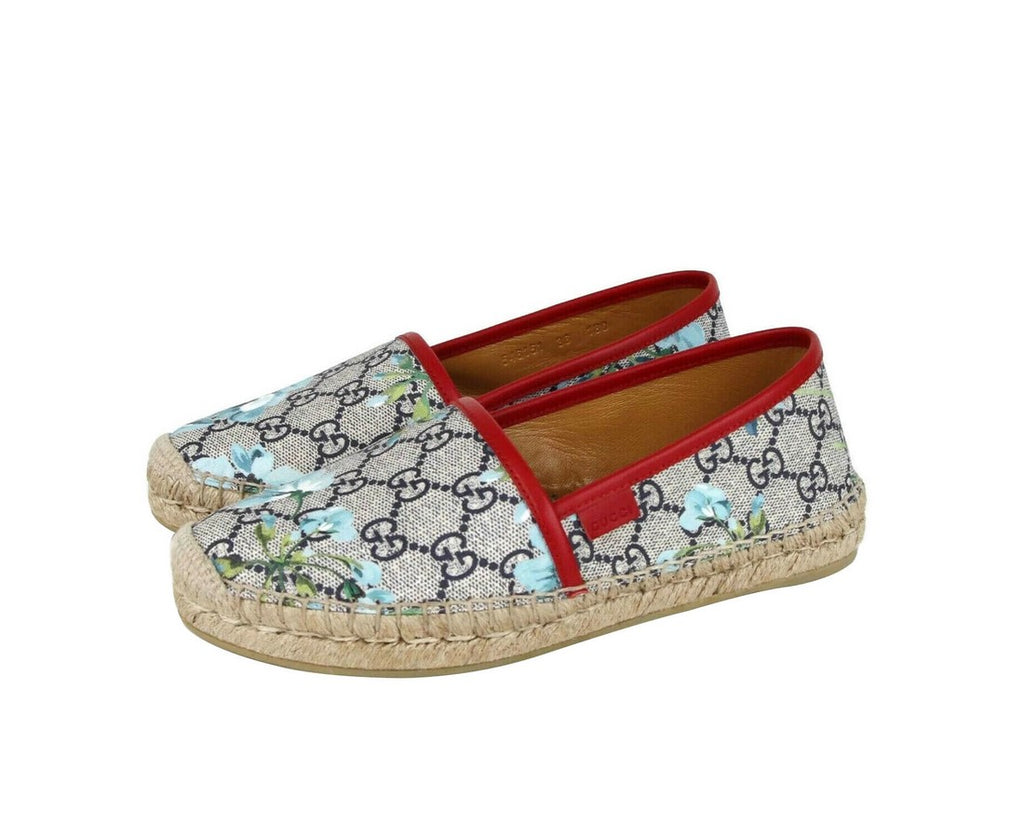 Gucci Women's GG Supreme Canvas Blue Bloom Espadrilles Flats 546151 8473 - LUX LAIR