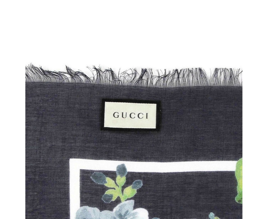 Gucci 400 Women's Navy Blue Modal / Silk With Blue Bloom Print Scarf 550905 4069 - LUX LAIR