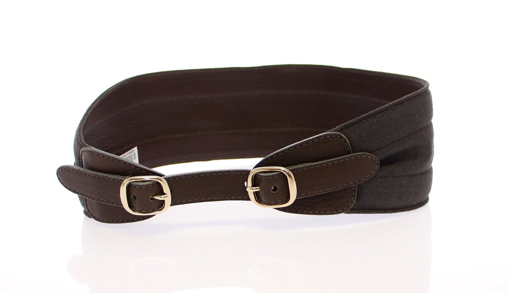 Dolce & Gabbana Brown Leather Linnen Logo Women's Belt