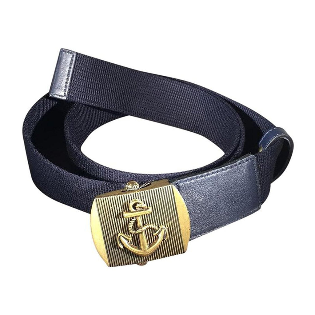 Gucci Men's Blue Fabric Brass Anchor Buckle Belt - LUX LAIR