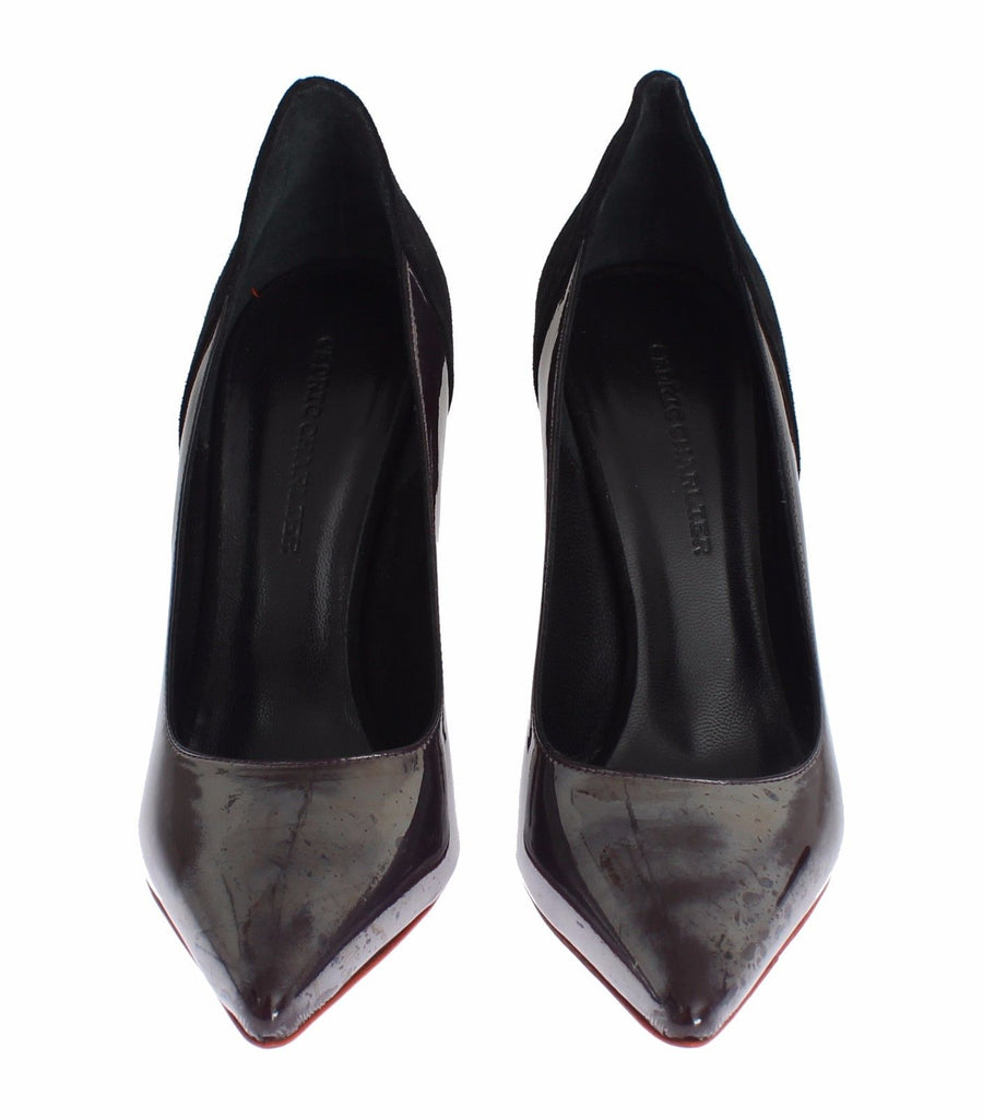 CEDRIC CHARLIER Gray Black Leather Suede Heels Pumps Women's Shoes