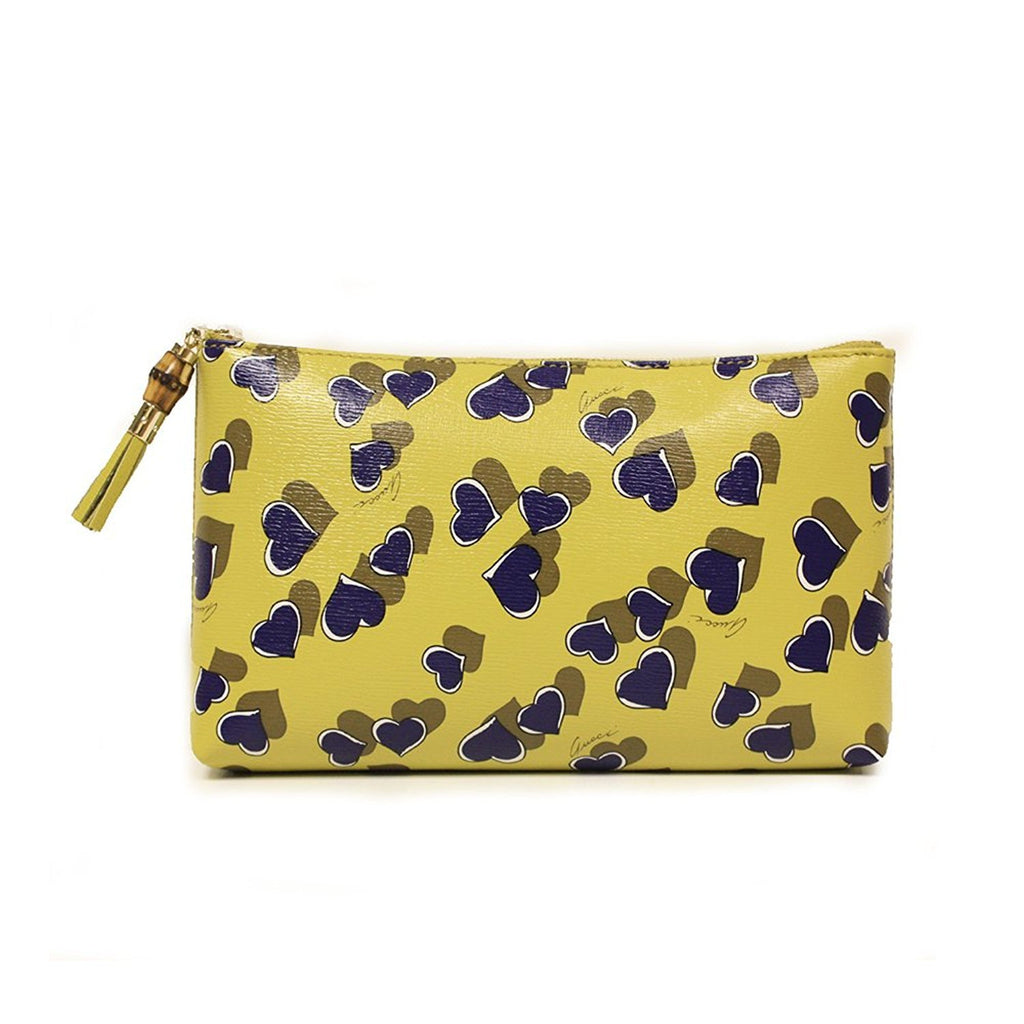 Gucci Women's Yellow Leather Heartbeat Pouch Clutch Bag 338816
