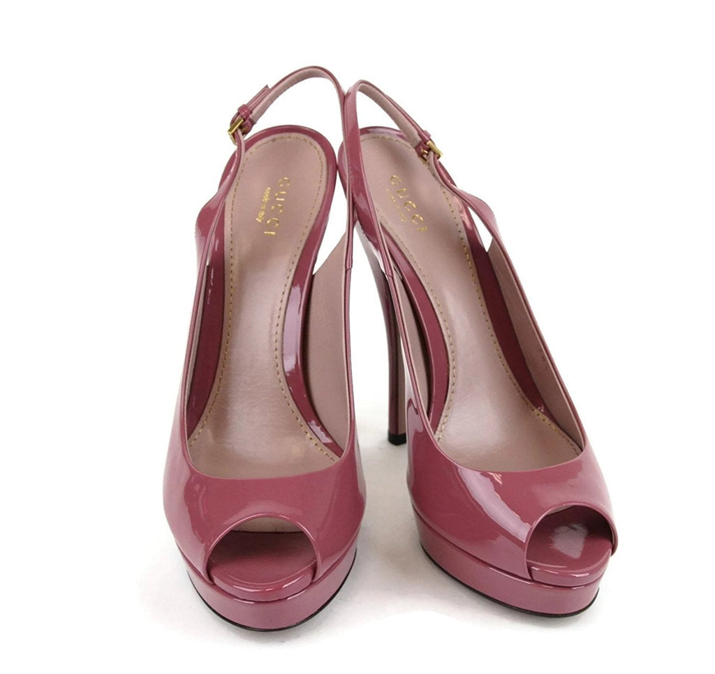 Gucci Women's Dark Pink Patent Leather Back Sling Platforms 310083 6224