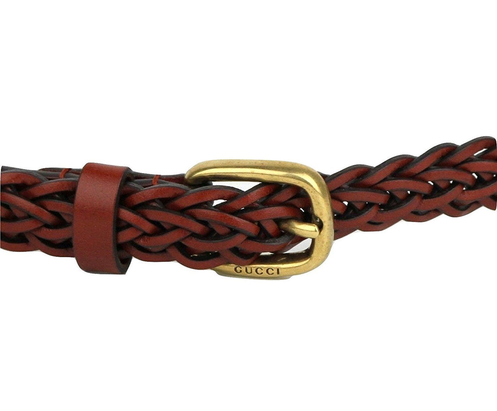 Gucci Belt Women Leather Red Skinny Braided - Clasp