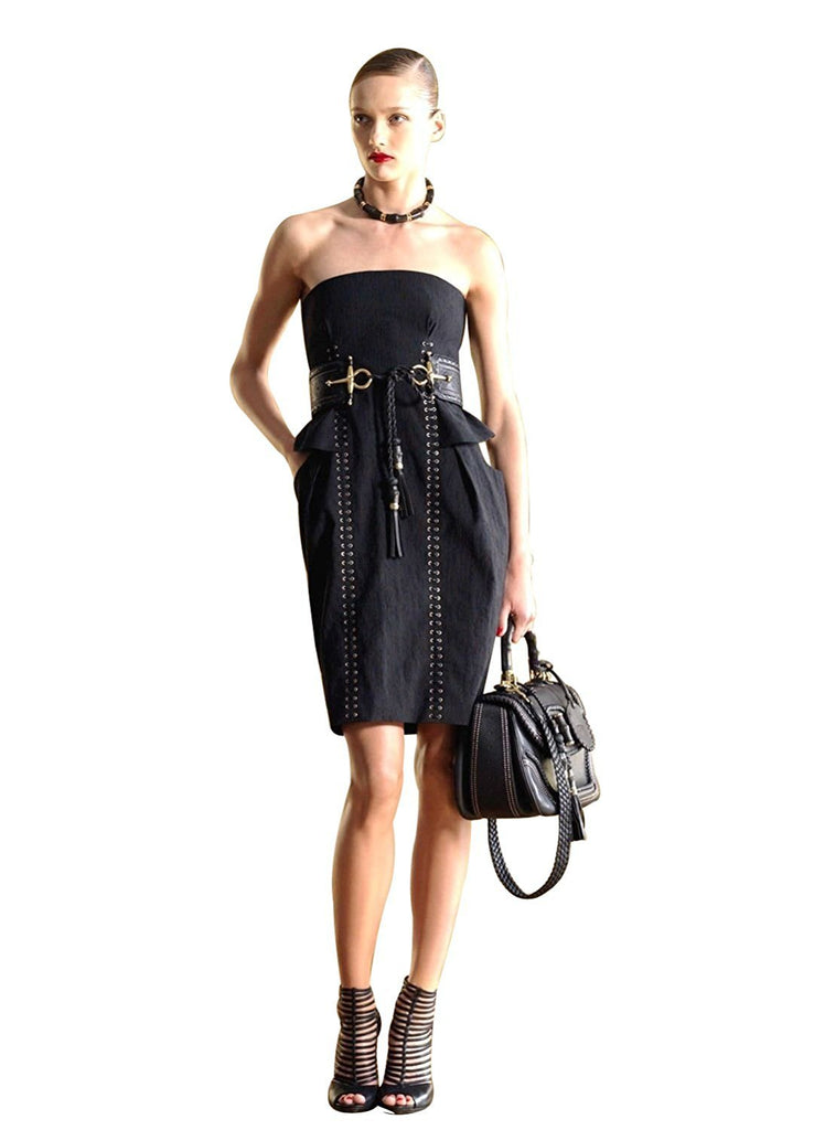 Gucci Women's Black Cotton Silk Strapless Bamboo Detail Tie Dress 261842 (38)