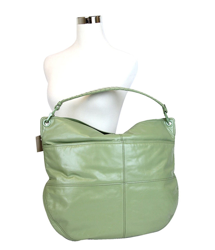Bottega Veneta Women's Green Leather Hobo Woven Detail Bag 309343 3414