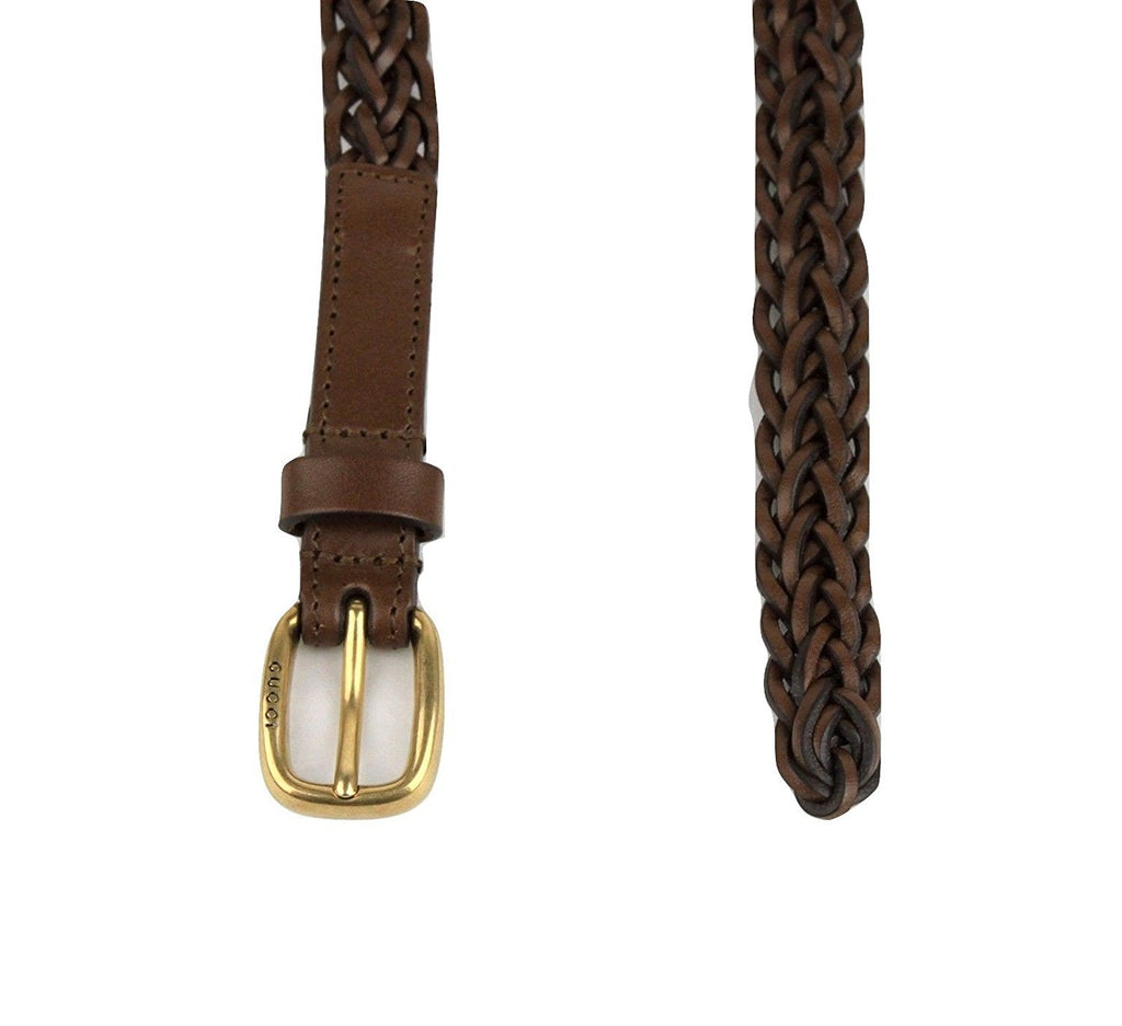 Gucci Women's Braided Cocoa Brown Leather Skinny Belt 380607 2617