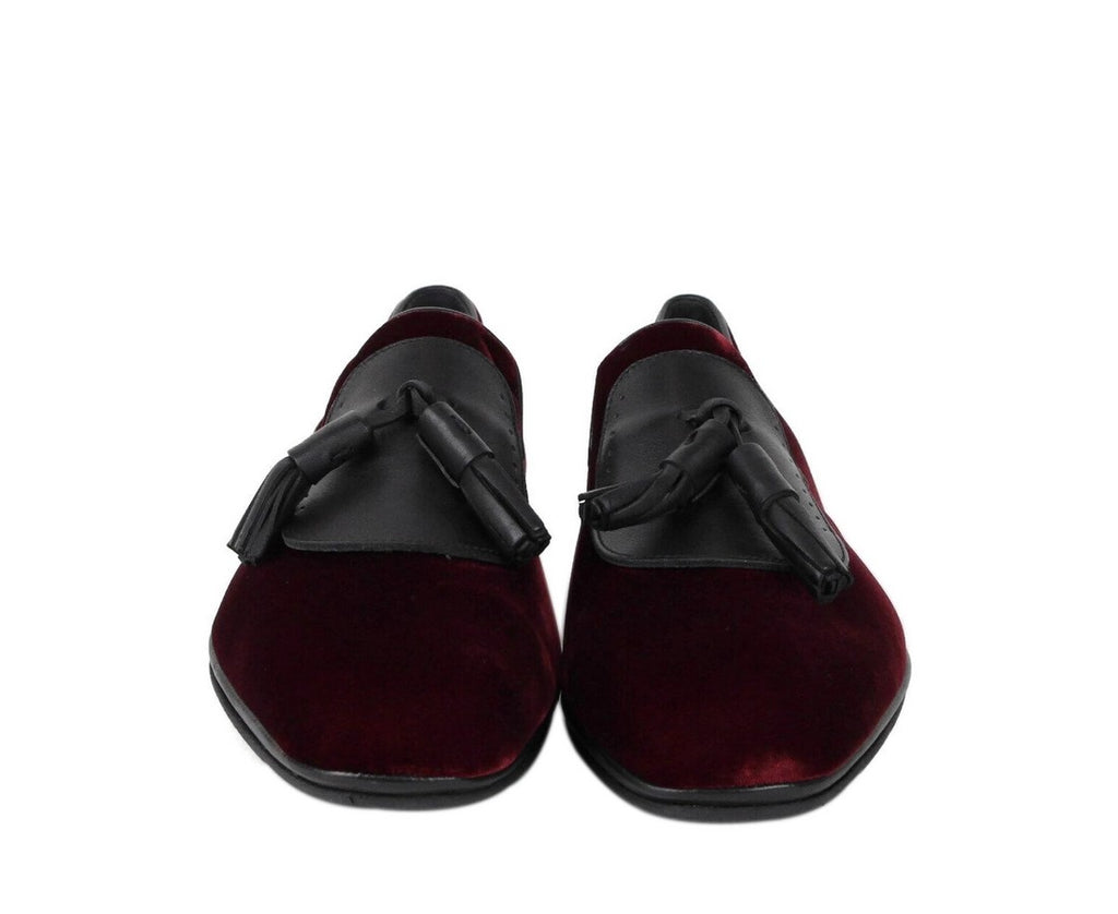 Salvatore Ferragamo Men's Finnegan Dark Red Velvet Tassel Loafer 656327 (10 M) - LUX LAIR