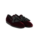 Salvatore Ferragamo Men's Dark Red Finnegan Velvet Tassel Loafer 656327