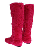 Dolce & Gabbana Pink Lamb Fur Leather Flat Women's Boots