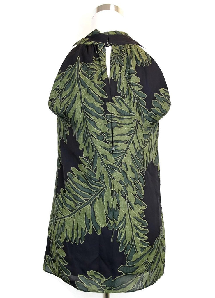 Gucci Women's Green Silk Halter Leaf Printed Top 333476