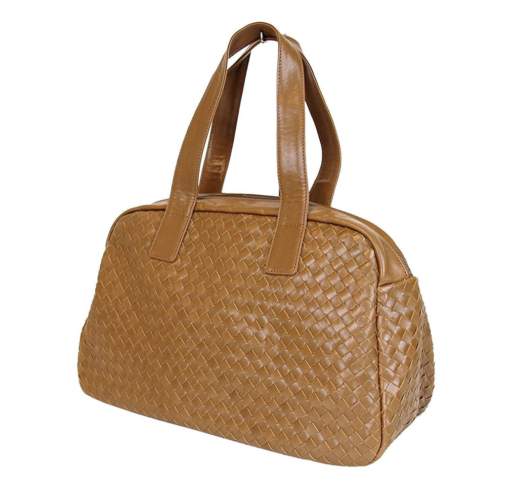 Bottega Veneta Women's Brown Leather Woven Dome Boston Bag 132380 2517