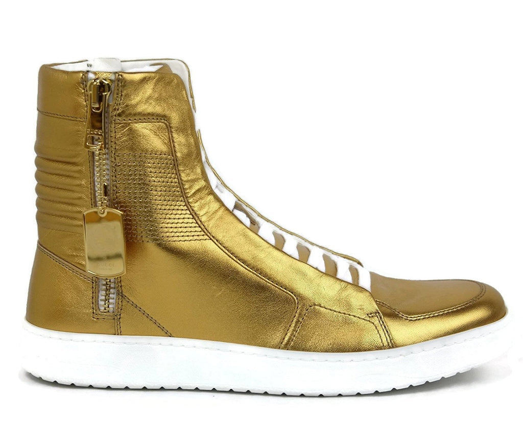 Gucci Men's Gold Leather Limited Edition High-top Sneakers 376193