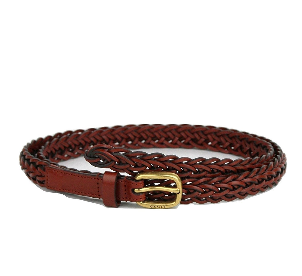 Gucci Belt Women Leather Red Skinny Braided - Folded