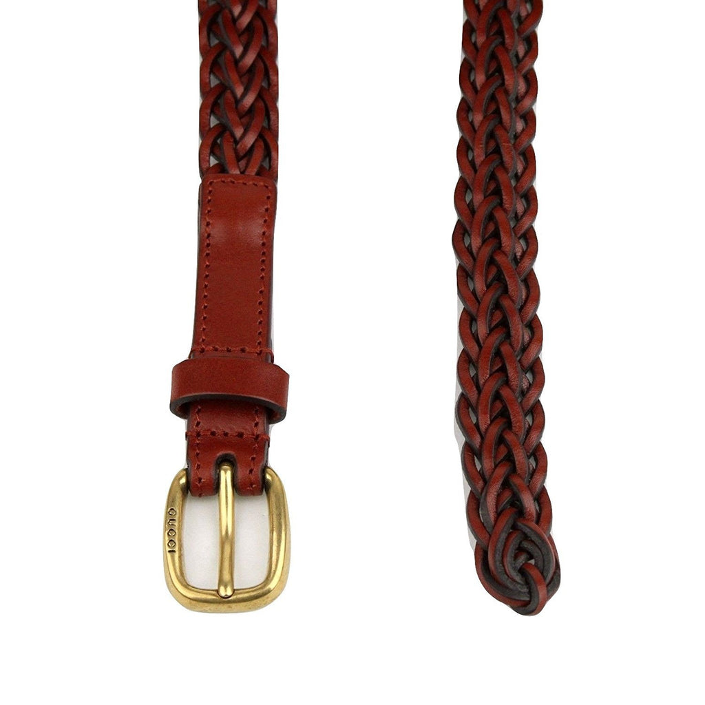 Gucci Belt Women Leather Red Skinny Braided - Half