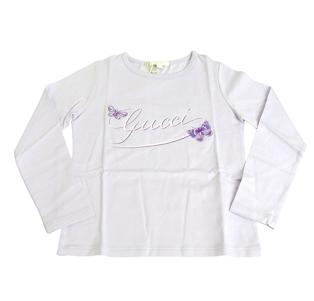 Gucci Kids Lilac Cotton Elastane Butterfly Embroidery Long Sleeve Top T Shirt 258571