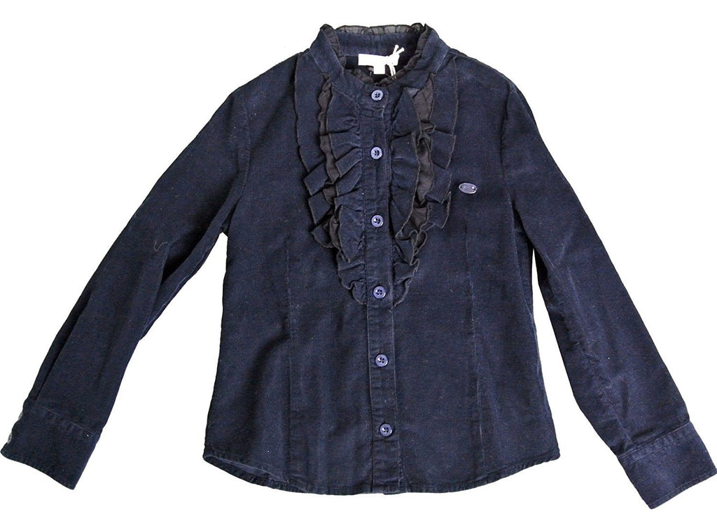 Gucci Kids Blue Cotton With Ruffled Detail Long Sleeve Top Shirt 265591 (Size 4)