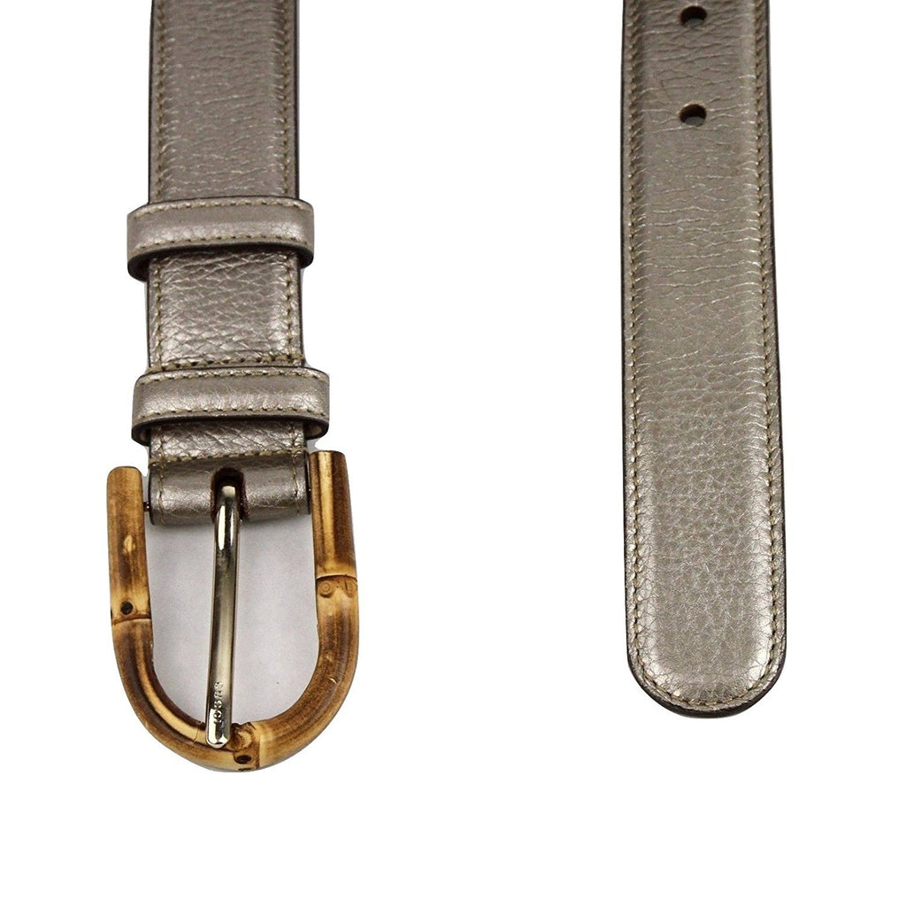 Gucci Women's Metallic Leather Belt With Bamboo Buckle 322954 9524