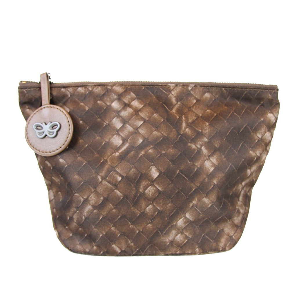 Bottega Veneta Women's Brown Nylon Intrecciolusion Cosmetic Bag 301183 2515
