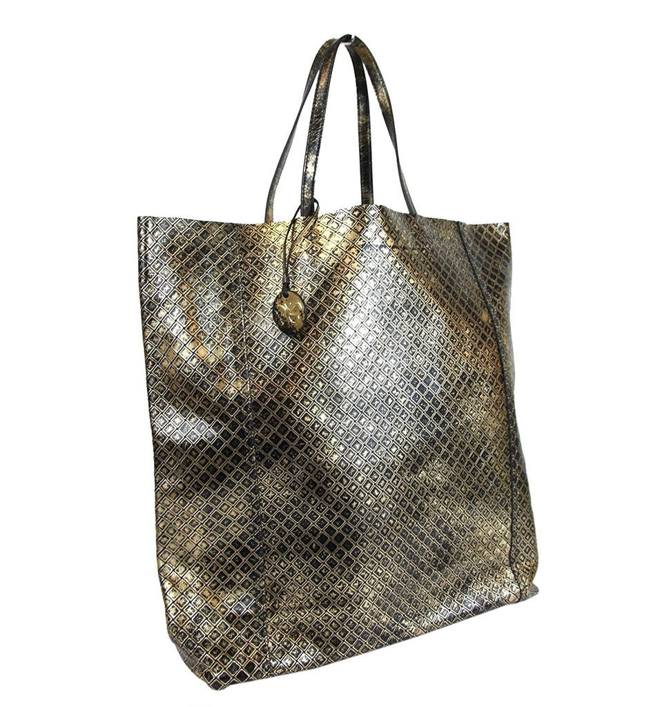 Bottega Veneta Tote Bag Gold/Black Leather For Women