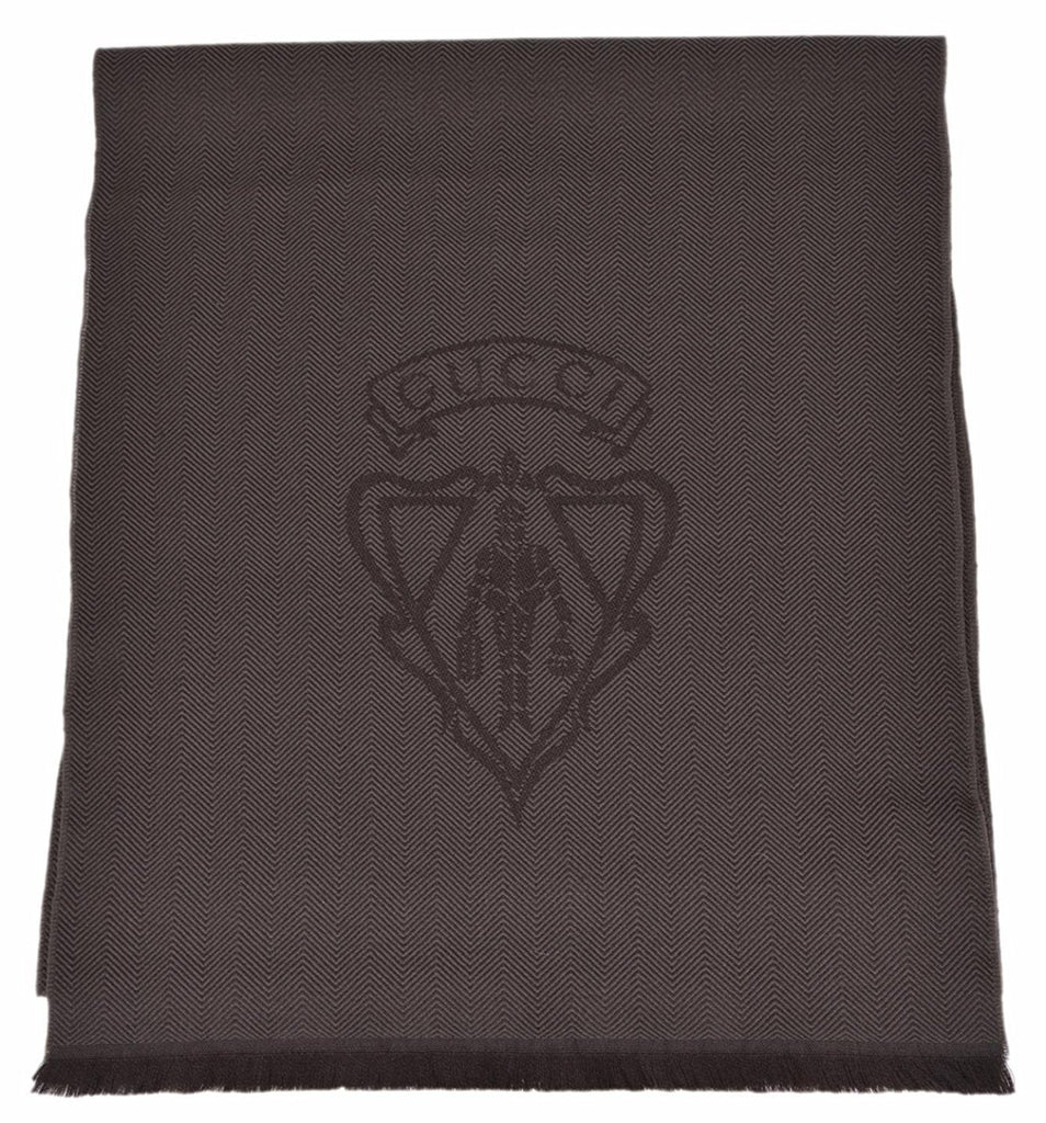 Gucci Wool Scarf Long Hysteria Dark Brown for Unisex
