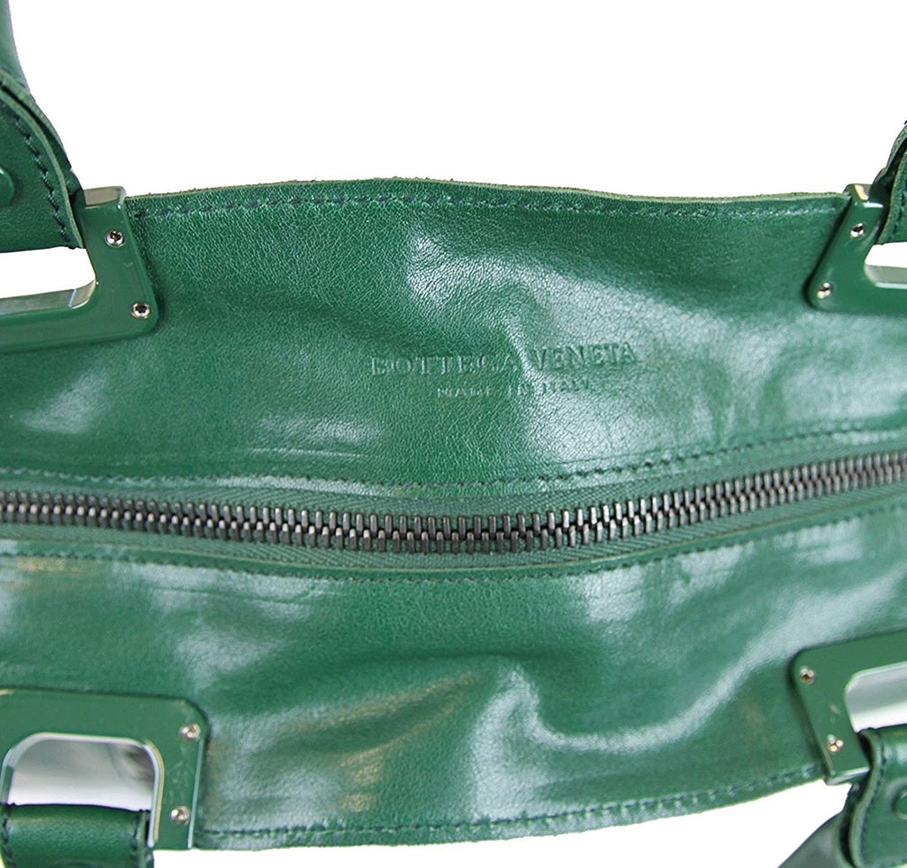 Bottega Veneta Unisex Green Leather Woven Detail Tote Bag 296558